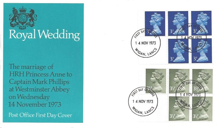 1973 50p Booklet, Post Office Royal Wedding First Day Cover, Wigan Lancs. FDI