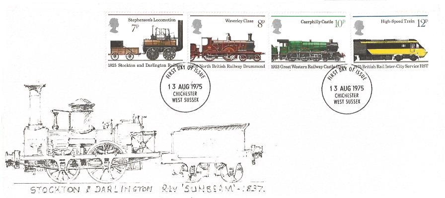 1975 Stockton & Darlington Railway, Illustrated First Day Cover, Chichester West Sussex FDI