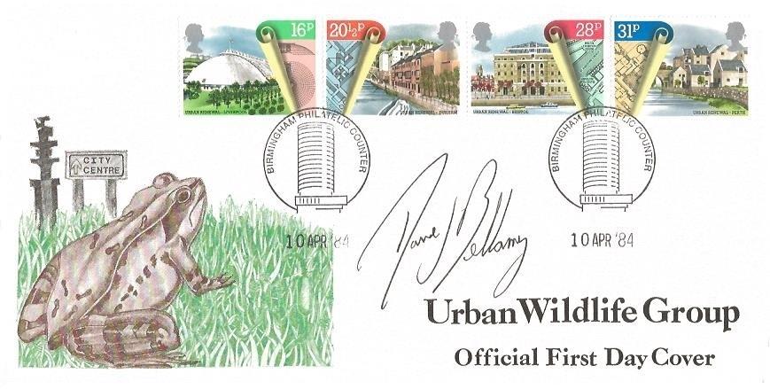 1984 Urban Renewal, The Urban Renewal Wildlife Group FDC, Birmingham Philatelic Counter H/S. Signed by David Bellamy