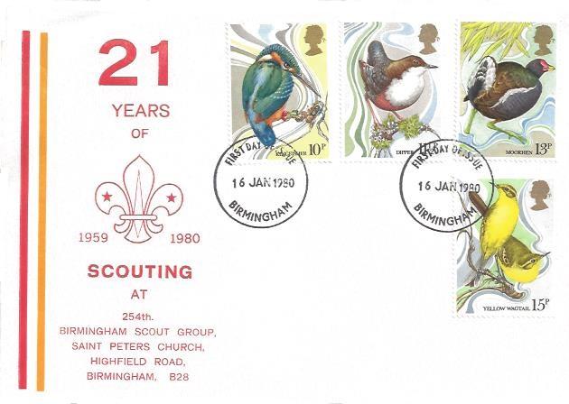 1980 British Birds, 254th Birmingham Scout Group First Day Cover, Birmingham FDI
