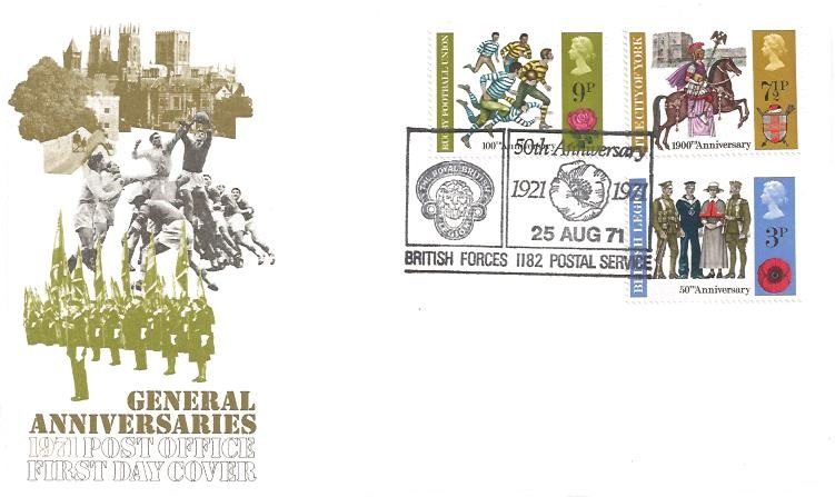 1971 General Anniversaries, Post Office First Day Cover, Royal British Legion 50th Anniversary 1921 - 1971 British Forces 1182 Postal Service H/S