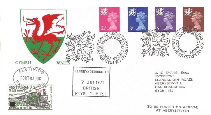 1971 QEII Welsh Regional Issue 2½p, 3p, 5p, 7½p, Festiniog Railway First Day Cover, First Day of Issue Aberystwyth H/S