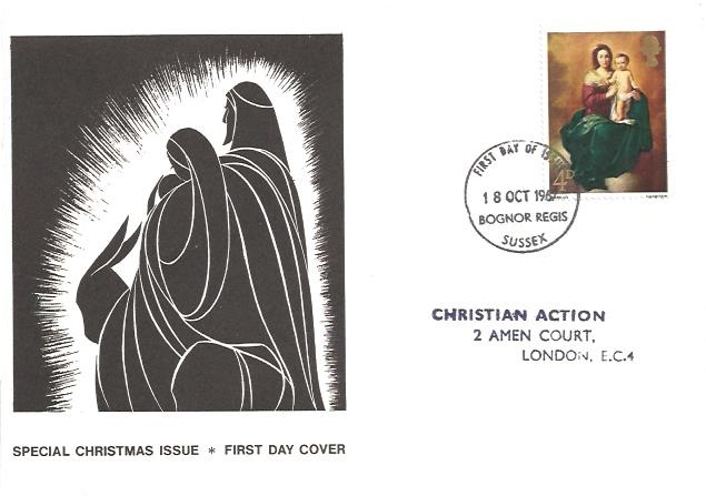1967 Christmas 4d, Christian Action First Day Cover, Bognor Regis Sussex FDI