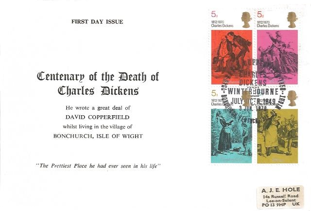 1970 Literary Anniversaries, Centenary of the Death of Charles Dickens Winterbourne Official First Day Cover, Charles Dickens Winterbourne Bonchurch Ventnor Isle of Wight H/S