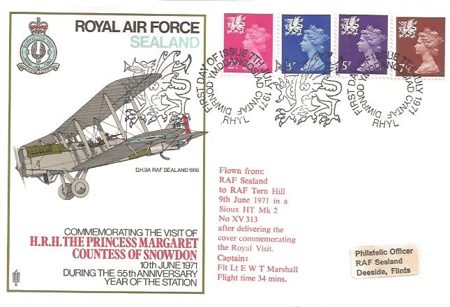 1971 QEII Welsh Regionals, 2½p, 3p, 5p, 7½p, RAF Sealand First Day Cover, First Day of Issue Rhyl H/S
