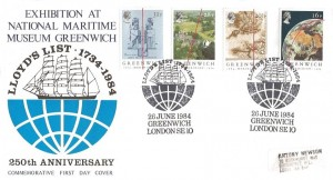 1984 Greenwich Meridian, Lloyd's Official FDC Exhibition at the National Maritime Museum, Lloyd's List 1734 - 1984 Greenwich London SE10 H/S