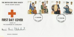 1982 Youth Organisations The British Red Cross Society Devon County Branch FDC. Signed