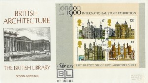 1978 Historic Buildings Miniature Sheet, British Library BL5 Official FDC, British Architecture The British Library London WC H/S