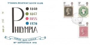 1970 Philympia, 7th Signal Regiment Stamp Club Special FDC, Field Post Office 1035 cds