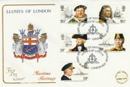 1982 Maritime Heritage, Lloyd's of London Cotswold Official FDC, Lloyd's of London Over 250 Years of Maritime Heritage London EC3 H/S