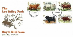 1984 British Cattle, Lee Valley Park Hayes Hill Farm Brown FDC, Enfield FDI