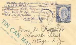 1936 Tonga Despatched by Tin Can Mail Cover