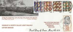 1979 European Elections, Keighley & Worth Valley Railway Official FDC, Worth Valley Railway Letter Service Keighley H/S
