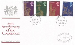 1978 25th Anniversary of the Coronation, Royal Mail FDC, Kings Lynn Norfolk FDI, Sandringham Estate Office Cachet