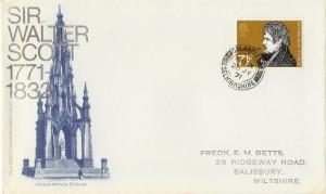 1971 Literary Anniversaries, Sir Walter Scott, PO FDC Galashields Selkirkshire cds