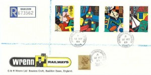 1989 Toys & Games, Wrenn Railways FDC, Honywood Road Basildon cds