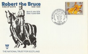 1974 Great Britons, Robert the Bruce National Trust for Scotland Official FDC, 700th Anniversary of the Birth of Robert the Bruce Bannockburn Stirling H/S