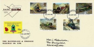 1985 Famous Trains, Ravenglass & Eskdale Railway FDC, Carlisle FDI