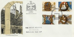 1974 Christmas, Great Hospital Norwich Official FDC, St.Helen's Church Great Hospital Norwich H/S