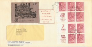 1971 17th Sept. 25p Booklet 3 panes on 2 Relevant Envelope Scarce