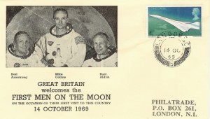 1969 First Men on the Moon, Philatrade Cover, London WC 5 cds