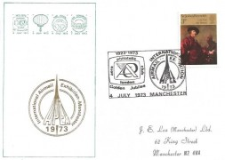 1973 British Paintings, International Airmail Exhibition Manchester APEX Official FDC, 3p Stamp only, Aero Philatelic Club London Golden Jubilee H/S