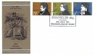 1971 Literary Anniversaries Post Office FDC, John Keats Shanklin 1819 Isle of Wight H/S