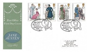 1975 Jane Austen Bicentenary Exhibition Bath PO FDC, Jane Austen 1775 - 1975 Bicentenary Exhibition Bath H/S