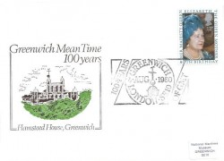 1980 Queen Mother's 80th Birthday, Greenwich 100 Years of GMT Official FDC, 100 Years of Greenwich Mean Time London SE10 H/S