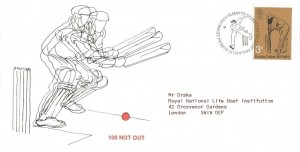 1973 Cricket, Wiggins Teape 100 Not Out FDC, 3p stamp only, First Day of Issue Philatelic Bureau Edinburgh H/S