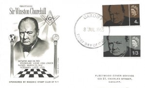1965 Churchill Masonic Stamp Club of New York Special FDC Cardiff FDI