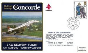 1976 British Airways, Concorde BAC Delivery Flight RAF Fairford - Heathrow Airport Cover.