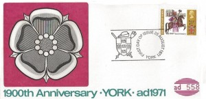 1971 General Anniversaries, 1900th Anniversary of York D Anderson FDC, First Day of Issue York H/S