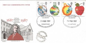 1987 Sir Isaac Newton's Tercentenary, George Hotel Grantham Official FDC,The George Celebrates Newton's Tercentenary Grantham H/S, with Carried by Mail Coach Cachet