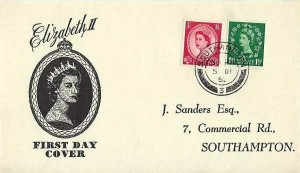 1952 Queen Elizabeth II, 1½d & 2½d Wilding Definitives, J Sanders FDC, Southampton cds