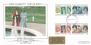 1986 Queen's 60th Birthday, Croydon Stamp Centre Special FDC, Redhill FDI