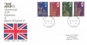 1978 25th Anniversary of the Coronation, Green & Co (Philatelics) FDC, Market Harborough cds