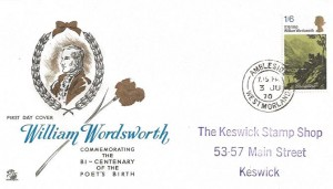 1970 Literary Anniversaries, William Wordsworth 1/6d Stamp, Sovereign FDC Ambleside Westmorland cds