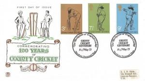 1973 County Cricket Centenary, Stuart FDC, The Birthplace of English Cricket Hambledon Hants H/S