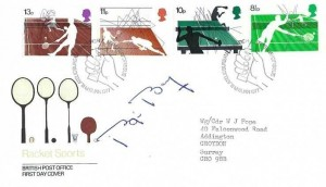 1977 Racket Sports Post Office FDC, signed by Bjorn Borg, First Day of Issue Philatelic Bureau Edinburgh H/S