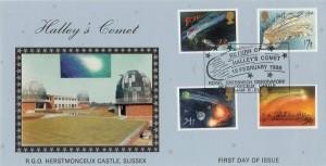 1986 Halley's Comet Royal Greenwich Observatory Official FDC, Return of Halley's Comet Royal Greenwich Observatory, Herstmonceux Castle, Hailsham, East Sussex H/S