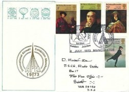 1973 British Paintings, APEX 1973 International Airmail Exhibition Manchester H/S, Official APEX FDC