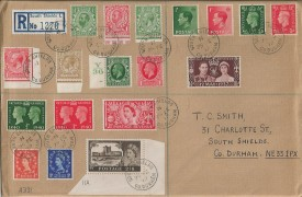 1972 Last Day of Valid use of Pre-Decimal Stamps, Plain Registered Cover, 18 stamps, 4 reigns, South Shields Co.Durham cds.