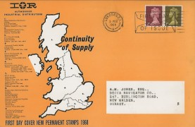 1968 1d, 2d New Machin Definitives, IOR Advertising Card FDC, First Day of Issue London SE1 Slogan.