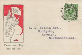 1911 King George V ½d Downey Head Issue Coronation Day, on The Junior Philatelic Society Illustrated FDC, London 160 cds.