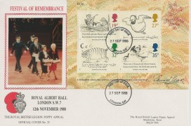 1988 Edward Lear Miniature Sheet, Royal British Legion FDC, London SW FDI.