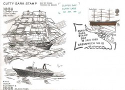 1969 British Ships, Cutty Sark Stamp Posted on Board FDC, Cutty Sark Stamp Day Greenwich H/S.