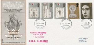 1969 Prince of Wales Investiture, Trident FDC, Llandudno FDI, Commanding Officer HMS Llandaff Cachet.