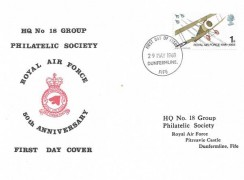 1968 British Anniversaries, HQ No.18 Group Philatelic Society FDC, 1s only, Dunfermline, Fife FDI.