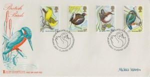 1980 British Birds, Save the Children Fund FDC, Philatelic Bureau Edinburgh H/S, Signed by the Stamp Designer Michael Warren.